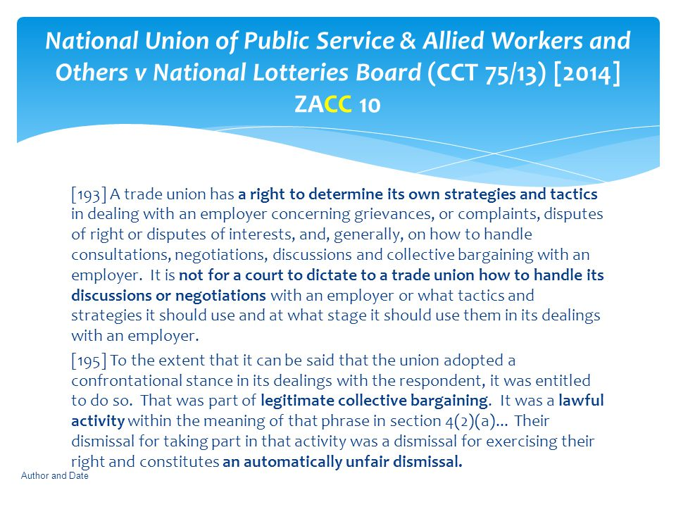 National Union of Public Service & Allied Workers and Others v National Lotteries Board (CCT 75/13) [2014] ZACC 10